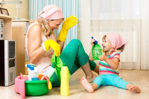 cleaning-mom-and-kid